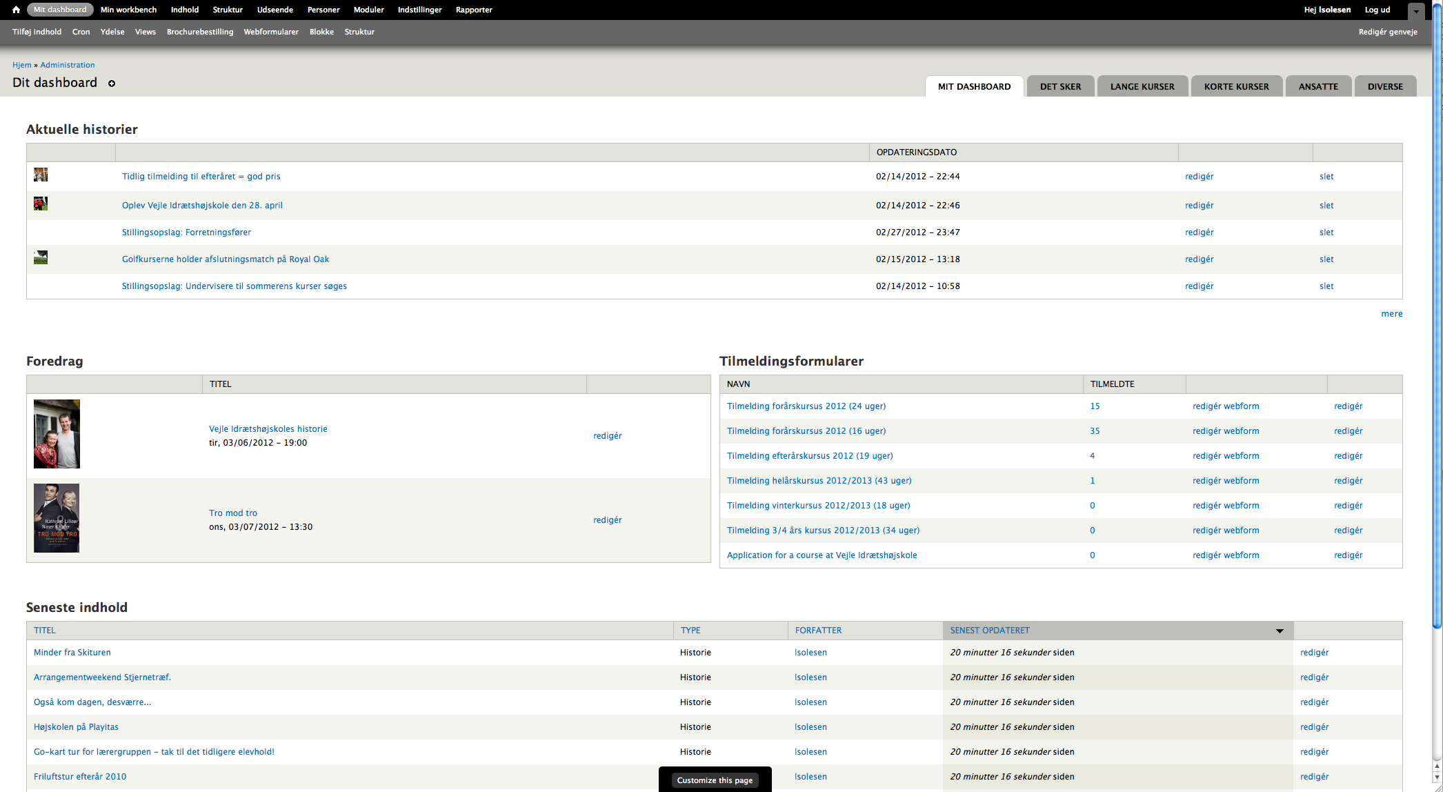 Screenshot of improved interface